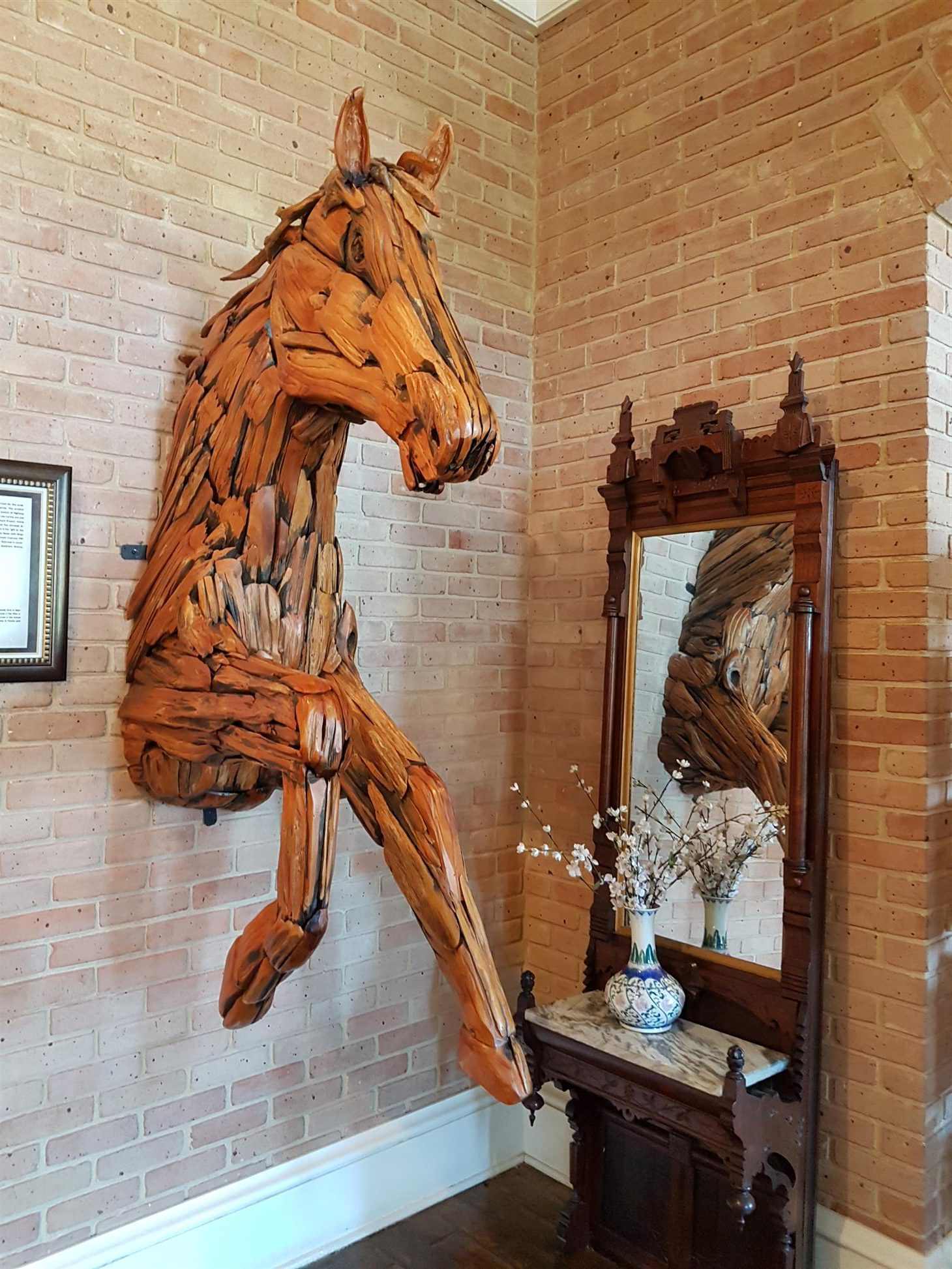 Horse inside the welcome center