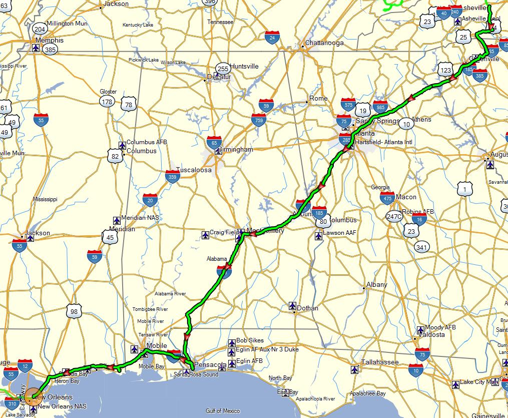 Tracklog - Heading south
